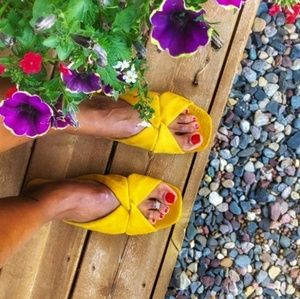 Yellow Mustard suede Knotted Slide Sandals 9